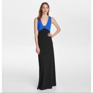 Karl Lagerfeld Colorblock Crepe Gown Maxi Dress